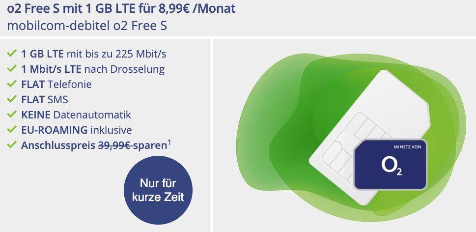 o2 Free S Allnet Flat mit 1GB LTE + unendlich weitersurfen für 8,99€ mtl.