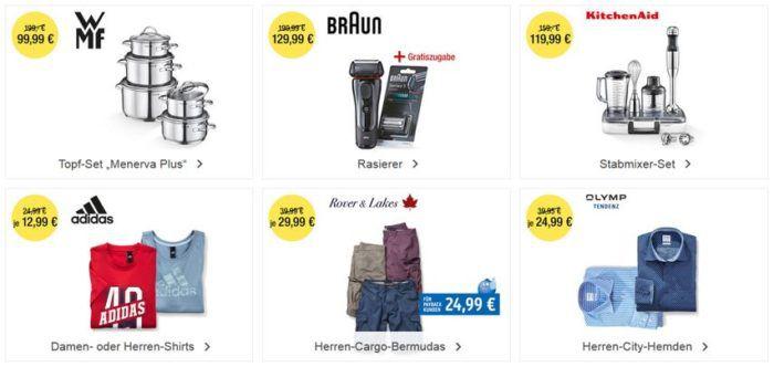 Galeria Kaufhof mit bis zu 15€ Rabatt bis Mitternacht: Heute z.B. WMF Topfset Menerva Plus 5 teilig statt 140€ für nur 99,99 €