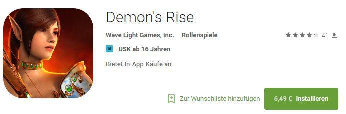 Demons Rise (Android) gratis statt 6,49€