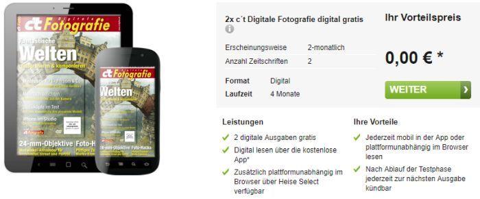 2 Ausgaben ct Digitale Fotografie (ePaper) gratis   Kündigung notwendig