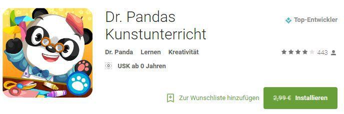 Dr. Pandas Kunstunterricht (Android) kostenlos statt 2,99€