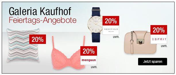 Galeria Kaufhof Sonntagsangebote   z.B. 20% auf ausgewählte Uhren und Schmuck, Sportbekeidung, Bademoden