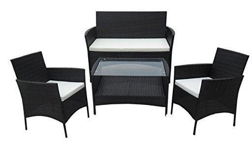 Garten Lounge Set Polyrattan: 1 Tisch + 2 Sessel + 1 Sofa für nur 143,91€