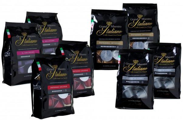 Grand Maestro Italiano Probierpaket mit 200 Kaffeekapseln für Nespresso für 36,99€