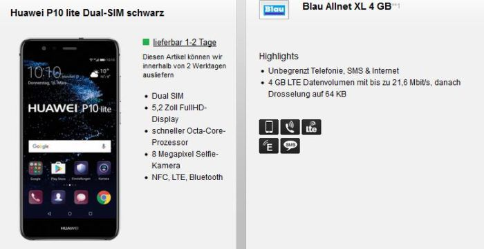 Huawei P10 lite + Blau.de (o2) AllNet + SMS Flat + 4GB LTE für 20€ mtl.