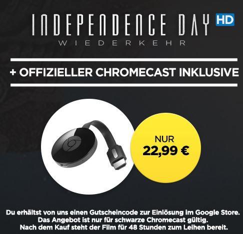 Google Chromecast 2 + HD Stream: Independence Day Wiederkehr für 22,99€