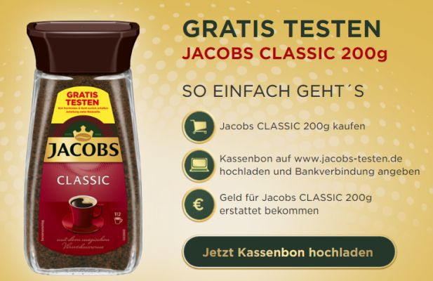 Jacobs Classic Kaffee gratis testen dank Geld zurück Garantie