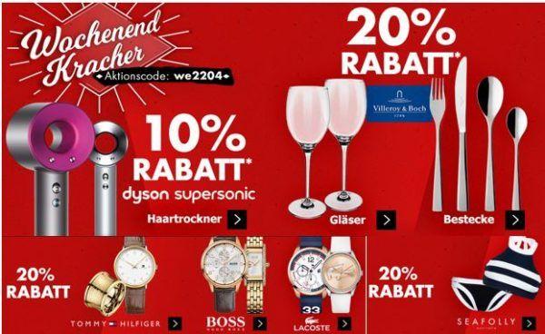 Karstadt mega Kracher mit z.B. 20% auf Villeroy & Boch Gläser und Bestecke   ausgewählte Uhren, Schmuck und Düfte