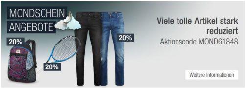 20% Rabatt auf ausgewählte Jeans & Hosen & Rucksäcke uvam.   Galeria Kaufhof Mondschein Angebote