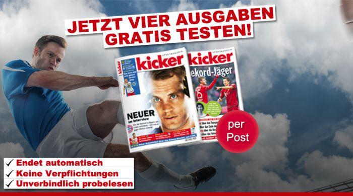 4 Ausgaben Kicker gratis – endet automatisch
