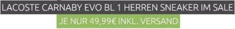 Lacoste Carnaby Evo BL 1 Herren Sneaker (Restgrößen) statt 88€ für 49,99€