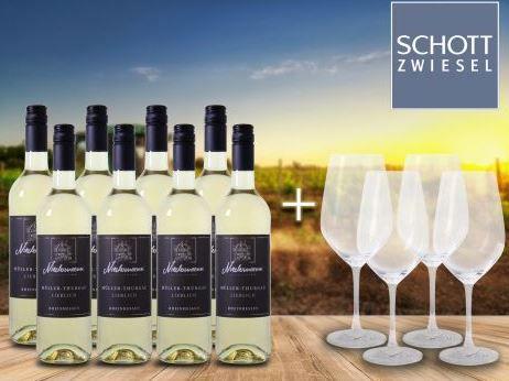 8 Flaschen Niedermann   Müller Thurgau Weißwein +  4 Weingläser von Schott Zwiesel für nur 44,94€