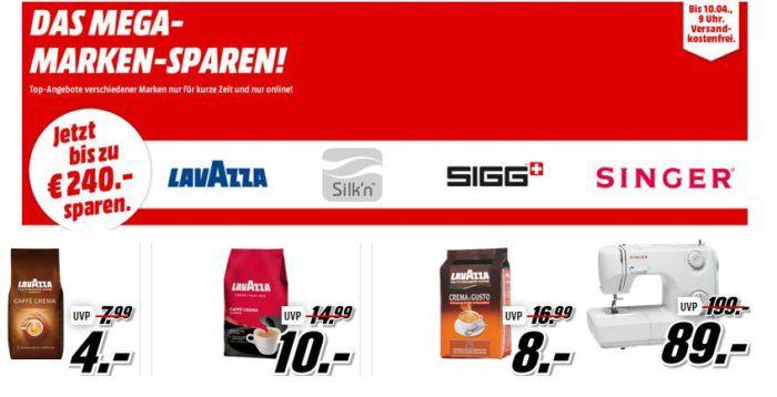 Media Markt Mega Marken Sparen: z.B. günstige Lavazza Kaffee ab 4€ oder Singer Nähmaschinen ab 89