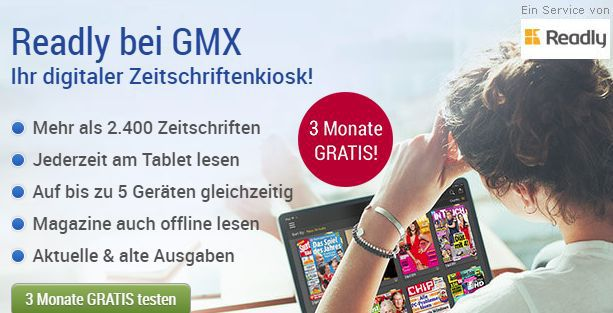 Nur für GMX Mitglieder: 3 Monate Readly kostenlos – Zugriff auf über 2.400 Magazine (Wert 27€)
