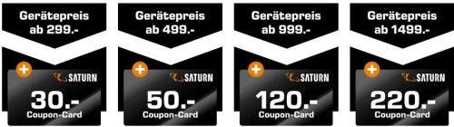 SATURN mit bis 220€ Gutschein Cashback auf ausgewählte Artikel
