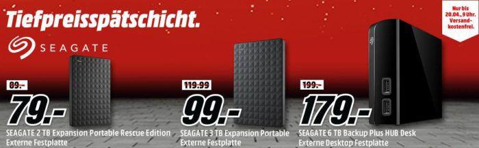 Media Markt SEAGATE Tiefpreisspätschicht   günstige Festplatten ab 55€