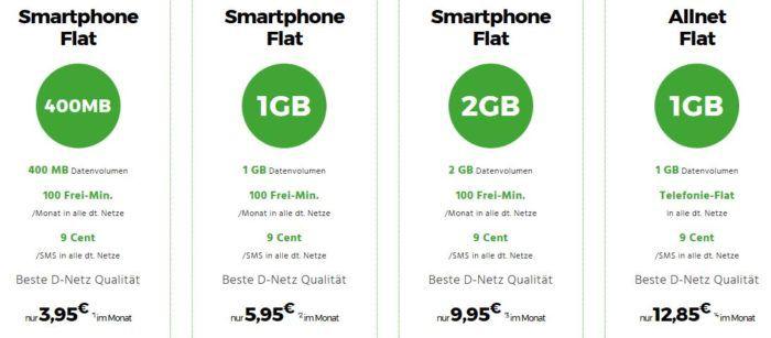 D1 Netz: Smart 400 mit 400MB + 100 Minuten für 3,95€ mtl. oder 1GB für 5,95€ und mehr günstige Verträge