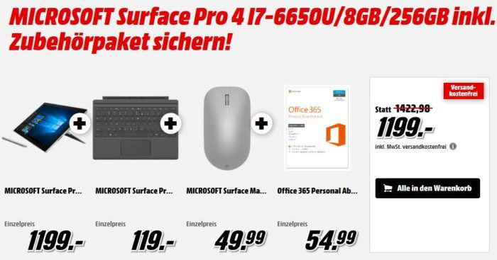 Surface 4 Pro i7 + Type Cover +Surface Maus + Office 365 für 1.199€ (statt 1.475€)