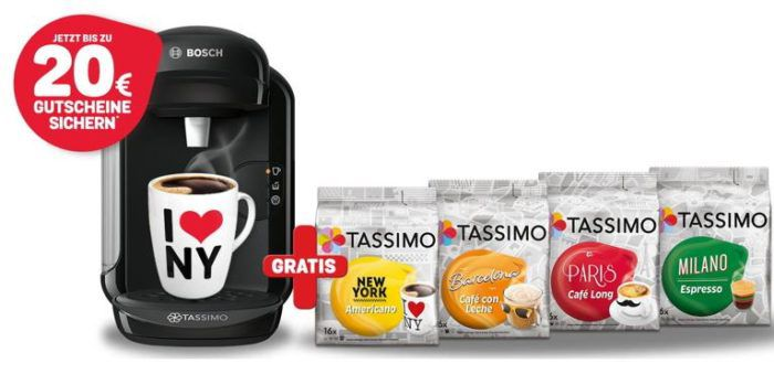 TASSIMO VIVY Kapselmaschine + 20€ Gutschein (2x10€) + 4x T Discs Packungen für nur 39,99€