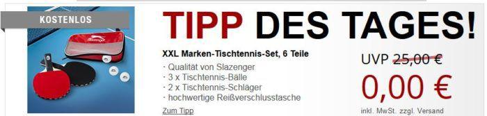Slazenger XXL Tischtennis Set, 6 Teile + 2 Gratis Artikel für lau + 5,97€ VSK
