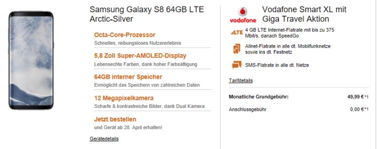 Vodafone Smart XL mit 4GB LTE + Samsung Galaxy S8 oder Galaxy S8 Plus ab 50,03€ mtl.