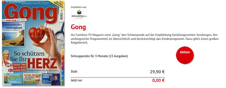 Schnupperabo Gong für 3 Monate (13 Ausgaben) kostenlos