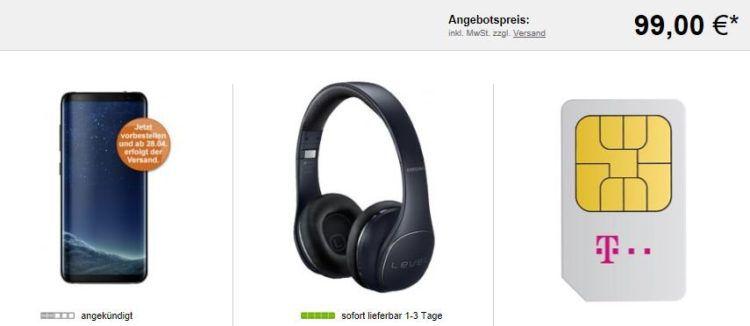 Samsung Galaxy S8+ & Kopfhörer für 99€ (statt 998€) + Telekom Magenta Mobil M mit 3GB LTE für 56,74€ mtl.
