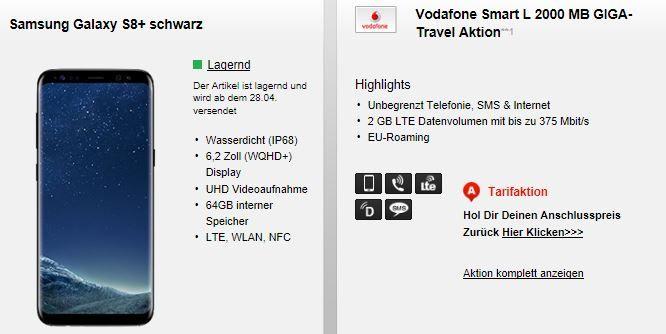 Samsung Galaxy S8+ für 79€ (statt 898€) mit Vodafone Smart L mit 2 GB für 46,78€ mtl.