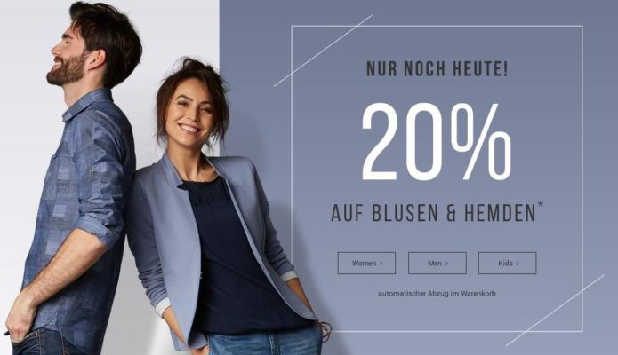 20% Rabatt auf alle Blusen & Hemden bei Tom Tailor