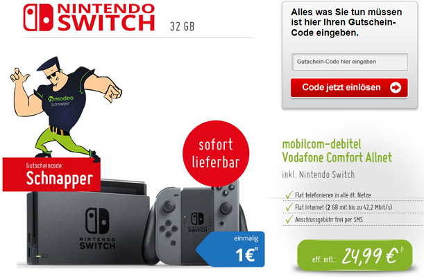 HOT! Nintendo Switch für 1€ (statt 330€) + Vodafone Comfort Allnet mit 2GB für 25,16€/Monat