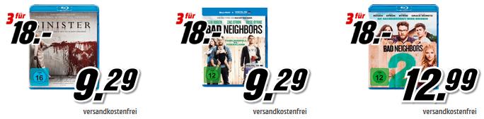 Media Markt: DVDs für 15€ oder Blu rays mit Filmen für 18€