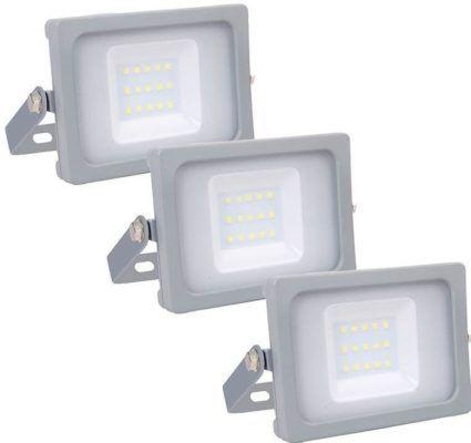 V TAC   3er Set LED Flutlichtstrahler mit 10Watt für 17,95€