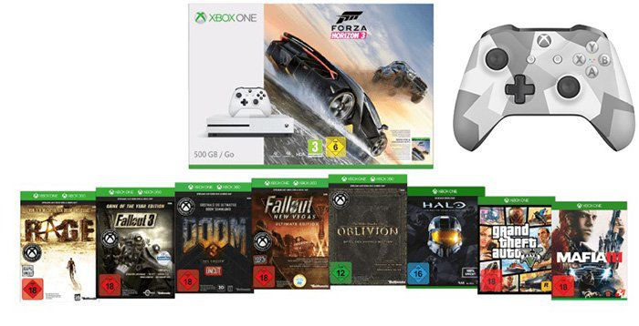 Xbox One S 500GB inkl. 9 Games + 2. Controller ab 359€ (statt 492€)