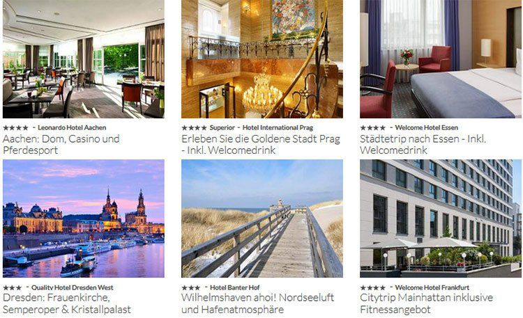 Reisegutschein: 2 ÜN für 2 Personen inkl. Frühstück für über 100 Hotels für 99€