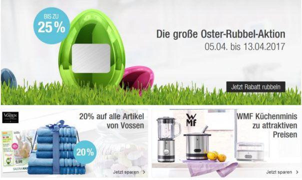 Galeria Kaufhof Oster Rubbel Aktion mit bis zu 25% Rabatt