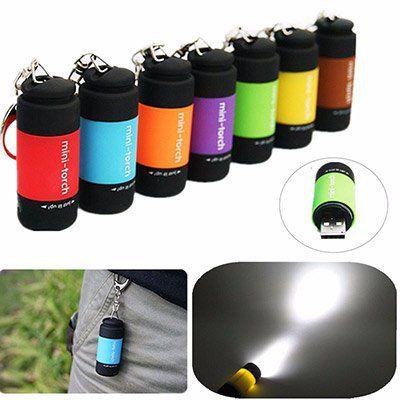 USB LED Taschenlampe in vielen Farben als Schlüsselanhänger mit Akku für 1€