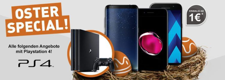 Oster Special bei Logitel   verschiedene Handytarife ab 1€ mit PS4 Slim 1TB o. PS4 Pro 1TB + Smartphone