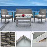 Polyrattan Sitzgruppe Patio – 1 Tisch, 2 Stühle + 1 Bank für 170,96€ (statt 200€)