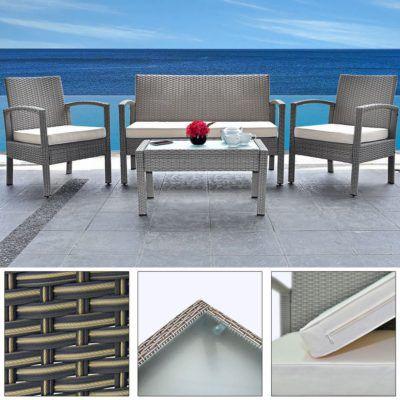 Polyrattan Sitzgruppe Patio   1 Tisch, 2 Stühle + 1 Bank für 170,96€ (statt 200€)