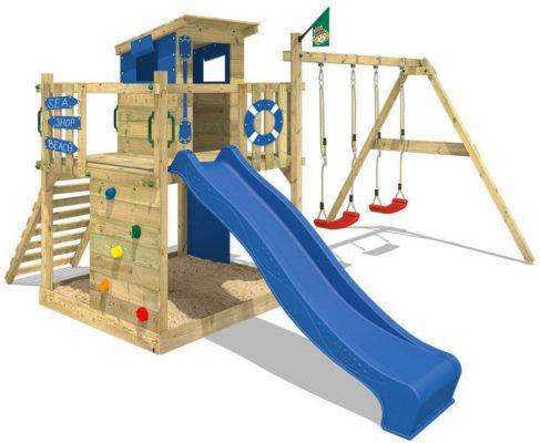 WICKEY Smart Camp   Spielhaus mit Kletterturm, Schaukel und Rutsche für 416,46€ (statt 500€)