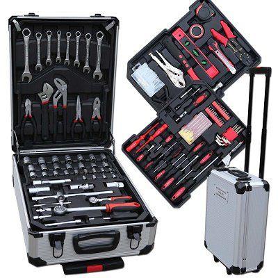 TLG Werkzeugkoffer mit 187 Teilen Chrom Vanadium mit Trolleyfunktion für 57,95€ (statt 68€)