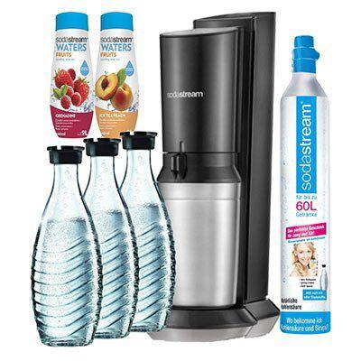 Sodastream   Crystal Megapack mit 60L Zylinder + 3 Karaffen + 2 Sirup ab 119,99€