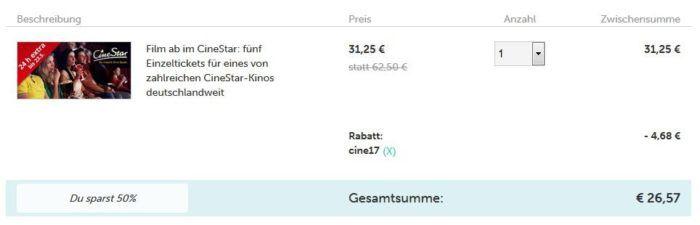 5 Cinestar Einzel Tickets inkl. Loge für 2D Filme für 26,57€ (statt 45€)