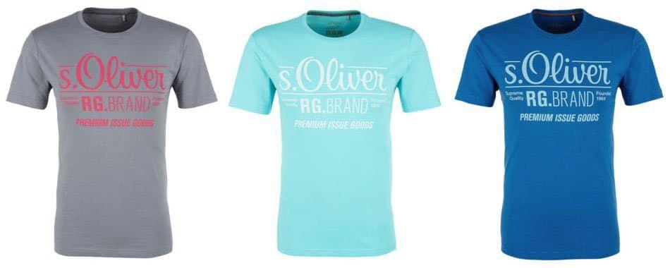 s.Oliver T Shirts für Herren mit Signature Print für 4,99€ (nur noch S)