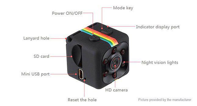 SQ11 Mini Kamera (Infrarot LED, Bewegungsmelder etc.) in Schwarz für 5,46€