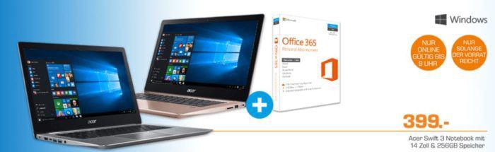 ACER Swift 3   14 Notebook mit Core i5 , 8GB RAM + 256GB SSD + Office365 für 799€
