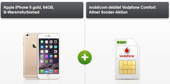 Apple iPhone 6 gold o. silber 64GB [refurb.]  + Vodafone AllNet Flat + 2GB Daten (bis zu 42,2 Mbit/s) für 19,99€ mtl.