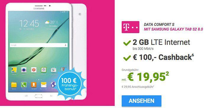 Telekom oder Vodafone LTE Tarife ab 19,95€ mtl. + Galaxy Tablet für 4,95€ + ggf. 100€ Cashback