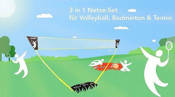 Hammer 3 in 1 Netz Set (Volleyball, Badminton, Tennis) für 48€ (statt 60€) + 2 Badmintonschläger