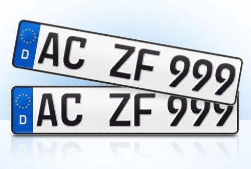 Wieder da! 2er Set EU KFZ Nummernschilder für nur 9,84€   für die offizielle Zulassung!